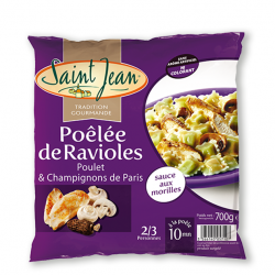 Poêlée de Ravioles, Poulet & Champignons de Paris, sauce aux Morilles - 700g