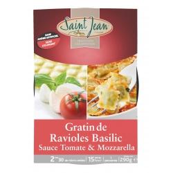 Gratin de ravioles au basilic, sauce tomate & mozzarella