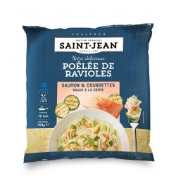 Poêlée de ravioles, Saumon & courgettes grillées, sauce à la crème -700g