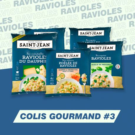 Le Colis GOURMAND 3 : comté, basilic et poelées de ravioles au saumon